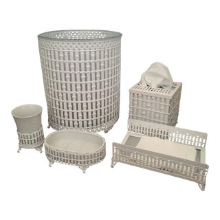 Vintage White Faux Bamboo Bathroom Vanity Set of 5