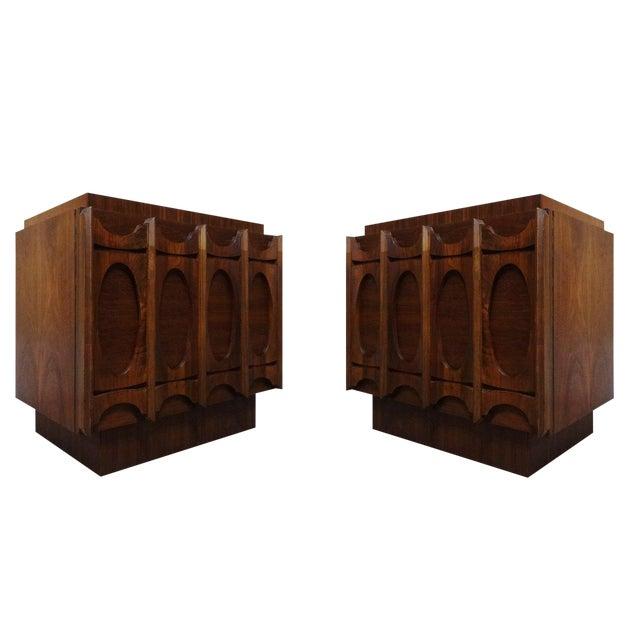 Image of Mid-Century Lane Brutalist Style Walnut Nightstands - A Pair