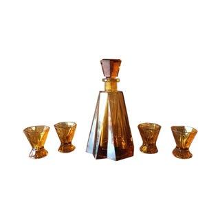 Vintage Cubist Glass Decanter & Glasses