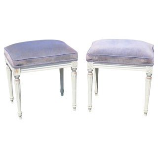 Louis XVI Style Cream Painted Stools - A Pair