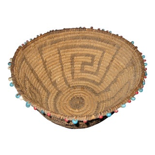 Circa 1900 Beaded Native American Apache Pima Basket