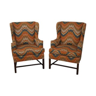 Hickory Chair Modern Flame Stitched Chippendale Style Wing Chairs - A Pair