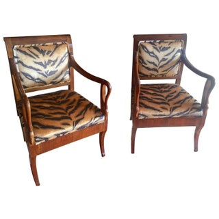 Biedermeier Armchairs in Animal Velvet - A Pair