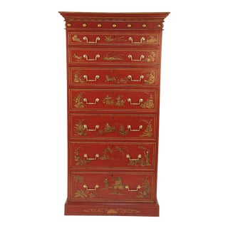 English Chinoiserie Red Lacquer 7 Drawer Tall Chest