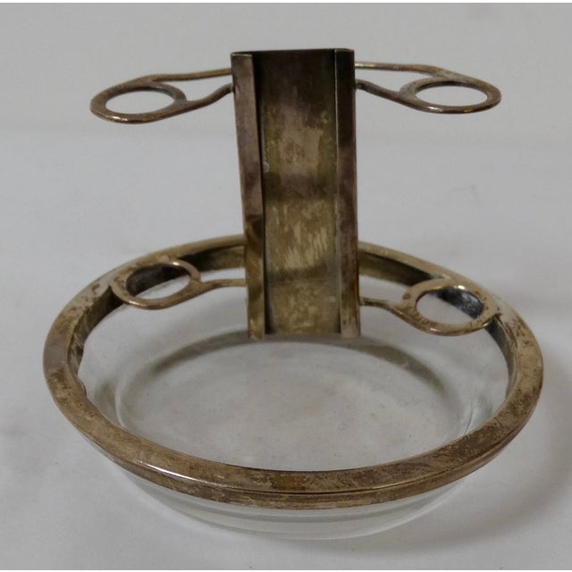 Image of Glass & Silver Ashtray/Place Card Holders - S/6