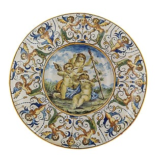 Antique Faience Cherub Wall Charger