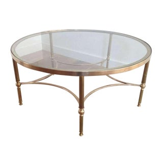 1970s Brass Coffee Table, Round