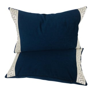 Navy Blue Plush Chenille Lumbar Pillows- a Pair