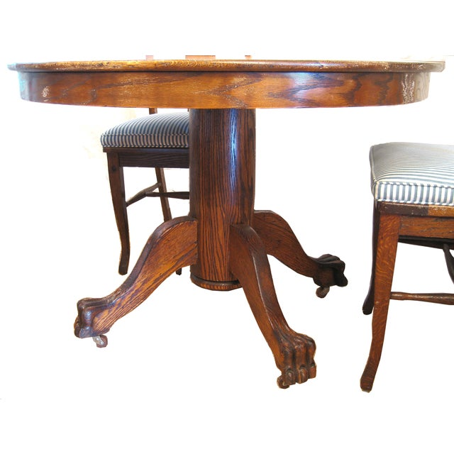 Round Claw Foot Oak Dining Set - Image 4 of 6