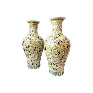 Imperial Yellow Crane-Motif Vases - A Pair