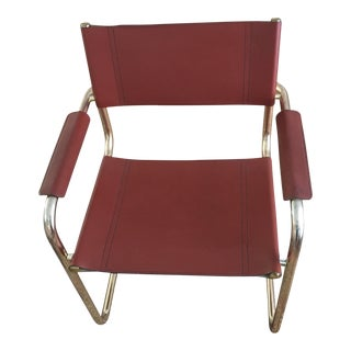 Mid Century Style Leather and Brass Chair