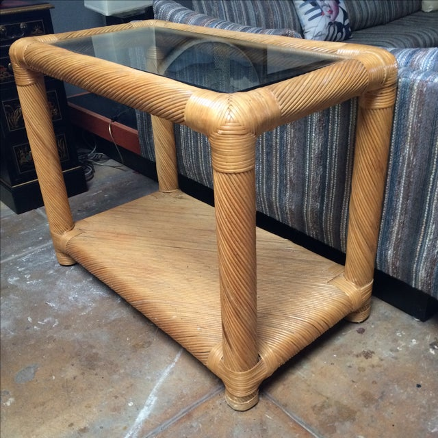 Two Tier Rattan Table - Image 2 of 6