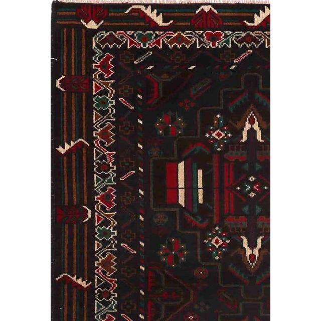 """Vintage Balouch Area Rug - 3'0"""" X 4'7"""" - Image 2 of 2"""