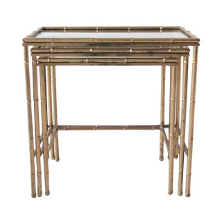 Vintage Brass Faux Bamboo Teak Nesting Tables - Set of 3