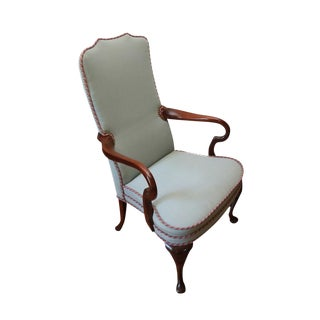 Mahogany Blue Upholstered High Back Chair