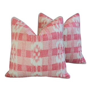 "Custom Brunschwig & Fils Pink & White Feather/Down Pillows 22"" Square - Pair"