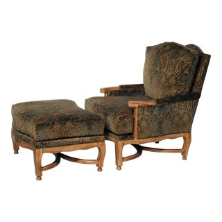 Hammer Collection Inc Large Country French Style Bergere Chair & Ottoman