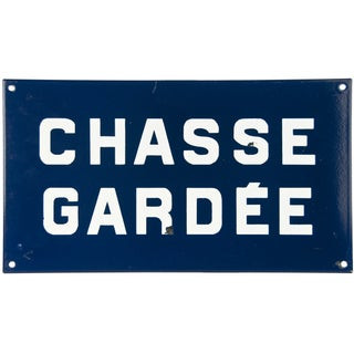Vintage French Blue Enamel Sign - Private Grounds