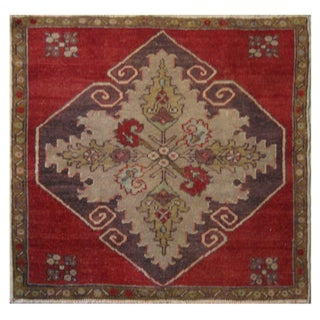 Vintage Turkish Oushak Rug 2-5x2-5