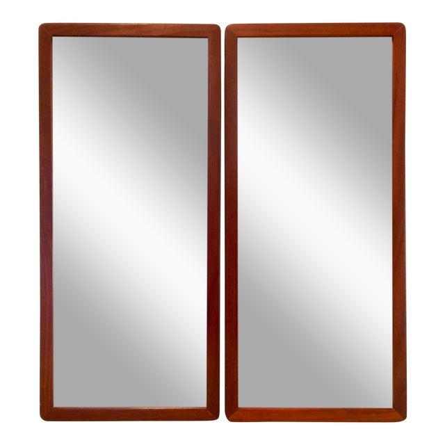 Narrow Danish Modern Teak Mirrors, a Pair - Image 1 of 8