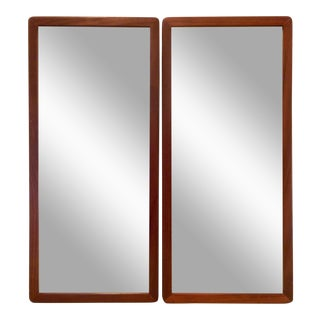 Narrow Danish Modern Teak Mirrors, a Pair