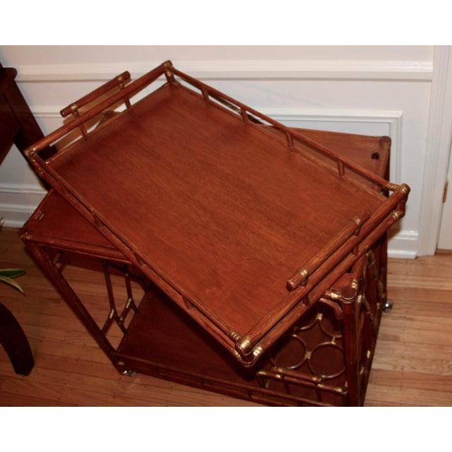 Golden Rattan Bar Cart - Image 5 of 10