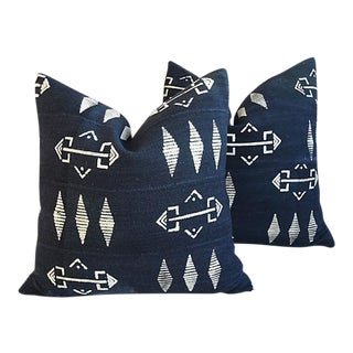 """22"""" Custom Tribal Mud Cloth & Linen Abstract Feather/Down Pillows - Pair"""