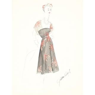 1950s Floral Cocktail Dress Illustration