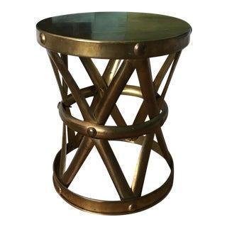 Vintage Brass X Drum Plant Table