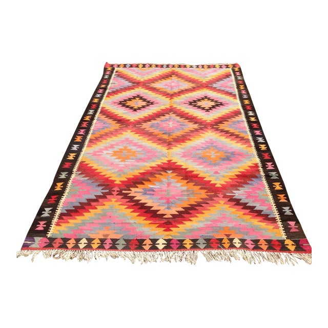 "Vintage Turkish Kilim Rug - 6'4"" X 9'10"" - Image 1 of 6"