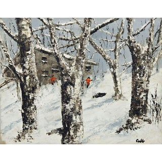 Circa 1950 Snowy Landscape Oil Painting