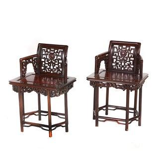 Chinese Jichimu Rosewood Armchairs - Pair