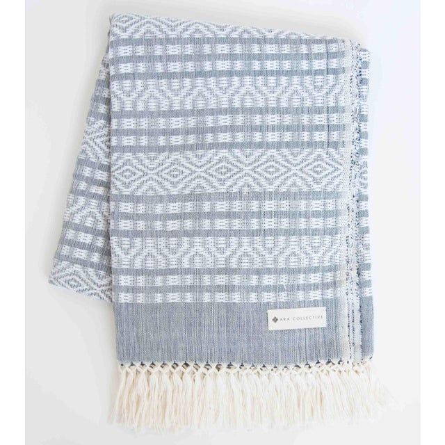 Blue-Gray & White Handwoven Mexican Throw - Image 2 of 4