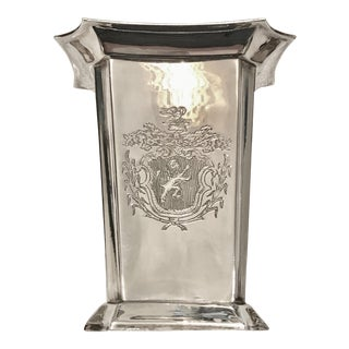 Silver-Plated Vase, Coat of Arms/ Lion Emblem
