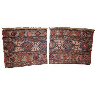 1900s Hand Made Antique Collectible Caucasian Sumak Pair of Bag Faces - 1.4' X 1.8'