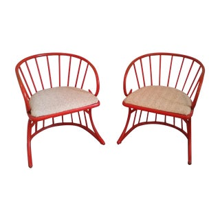 Vintage Rattan Bentwood Chairs in Orange - A Pair