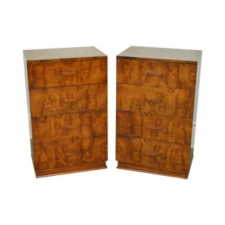 Art Deco Pair of Burl Wood 4 Drawer Silver Chests