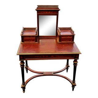 Antique 19th C FRENCH Satin Inlaid & Bronze mounted & Leather Top Mirror VANITY Dressing Table DESK