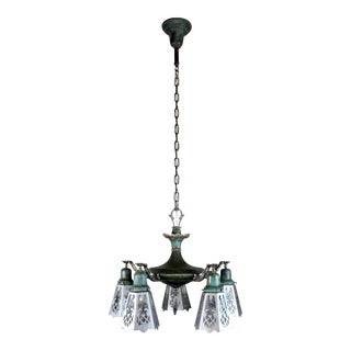 5 Light Pan Fixture in Verdigris, with Cut-Out Shades.