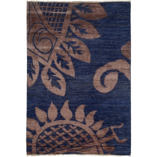 """Contemporary Hand Knotted Area Rug - 4'2"""" X 6'"""