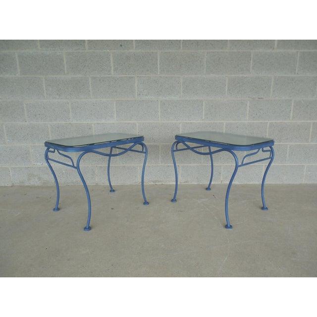 Vintage Woodard Hampton Park Pair Glass Top End Tables Model #1A052903 - Image 2 of 8
