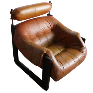 Percival Lafer Rosewood Tan Leather Lounge Chair