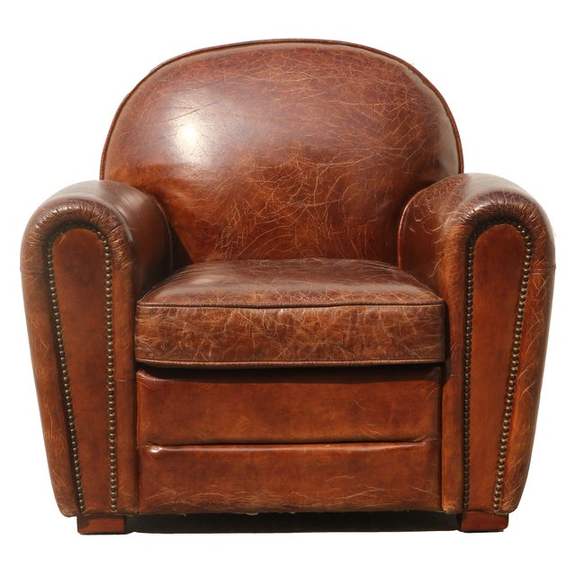 Image of Pasargad Genuine Leather Paris Club Chair