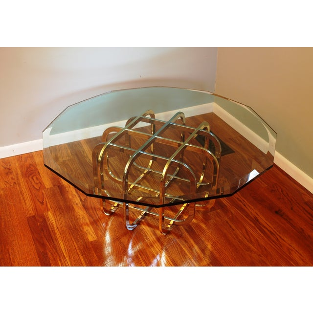 Vintage Chrome & Brass Glass Top Coffee Table - Image 2 of 8