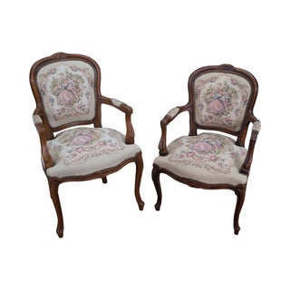 Chateau d'Ax French Louis XV Arm Chairs - Pairs