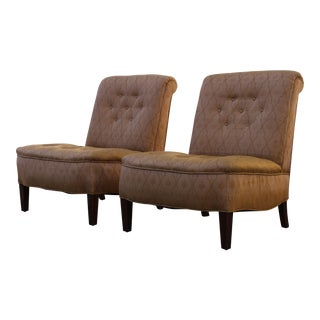 Edward Wormley Style Slipper Chairs - A Pair