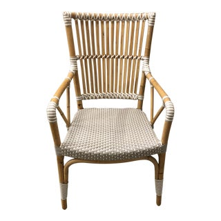 White Rattan Pole Arm Chair