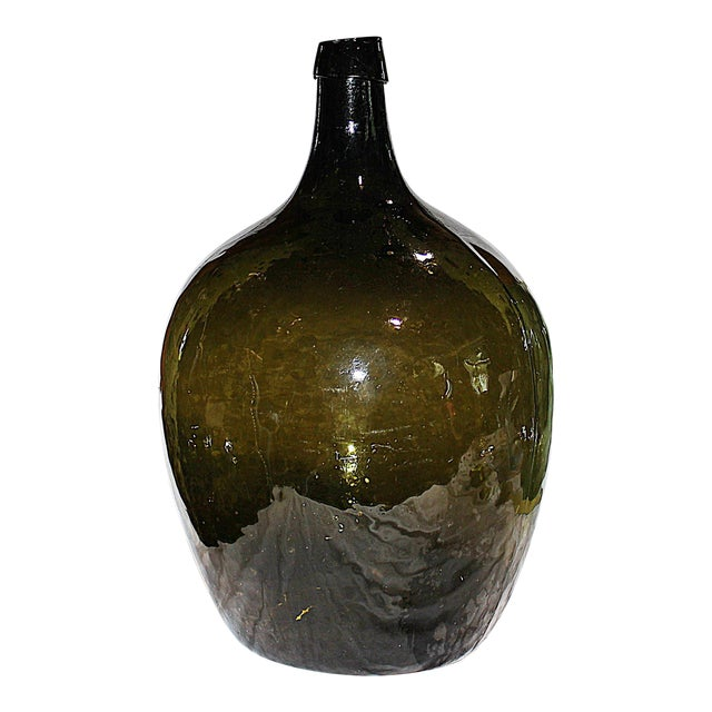 Image of Green Demijohn Blown Bottle