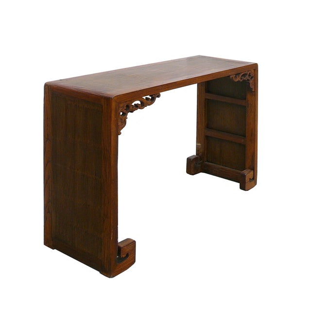 Chinese Elm Wood Bamboo Scroll Console Table - Image 2 of 5