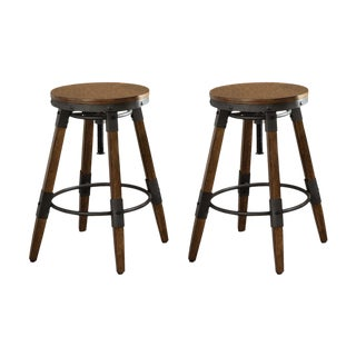 Weathered Brown Bar Stools - A Pair